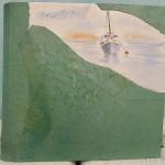 album foto di pelle con barca dipinta a mano